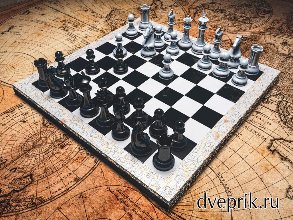 Шахматы, стоящие на старинной географической карте