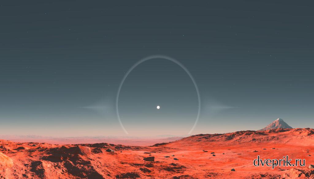 Марсианская панорама с гало вокруг солнца, которого на Марсе быть не может