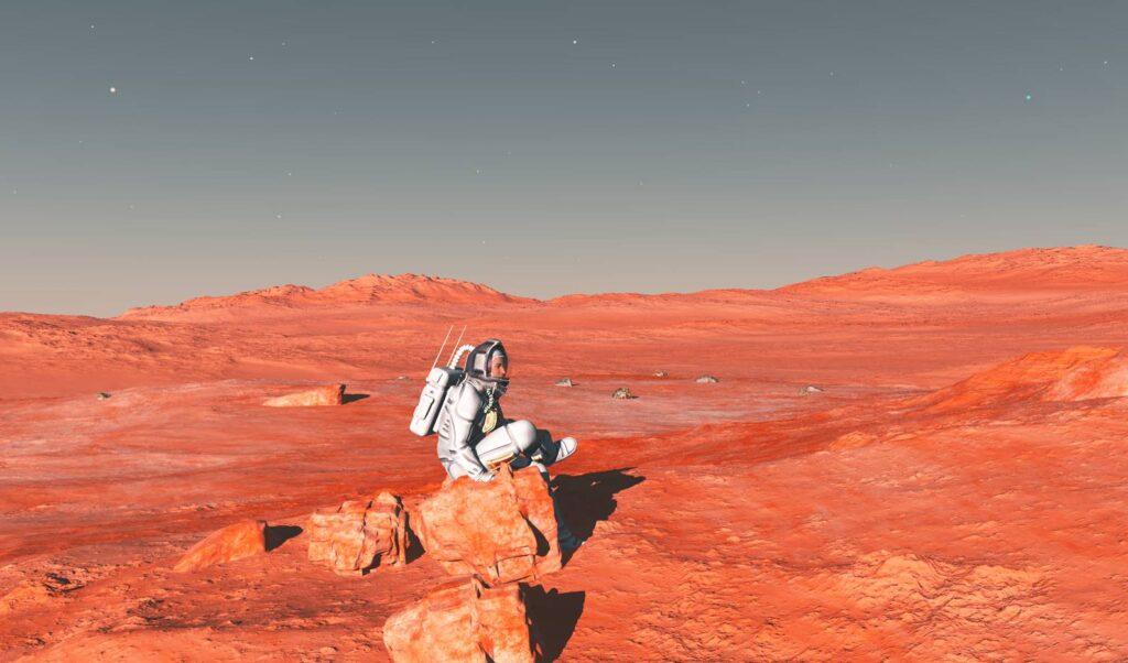 Какой-то фантастический астронавт, сидящий на камне на фоне почти реалистичного марсианского пейзажа